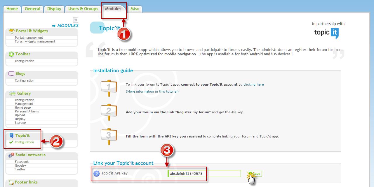 Topic'it-API-Key auf Forumieren hinzufügen