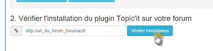 Vérification de l'installation du plugin Topic'it