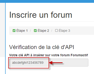 Vérification de la clé API Topic'it