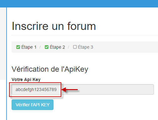 vérifier clé API