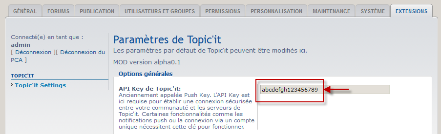 copier coller la clé API