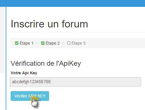 vérification de la clé API