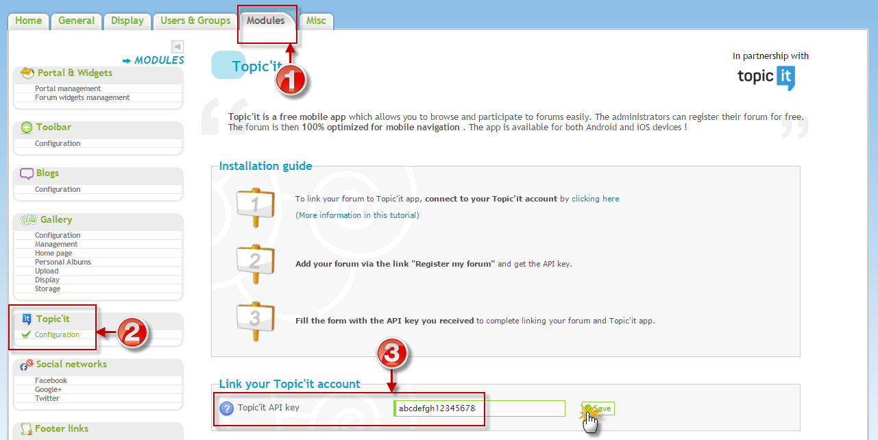 Integrar a chave API no seu fórum Forumeiros