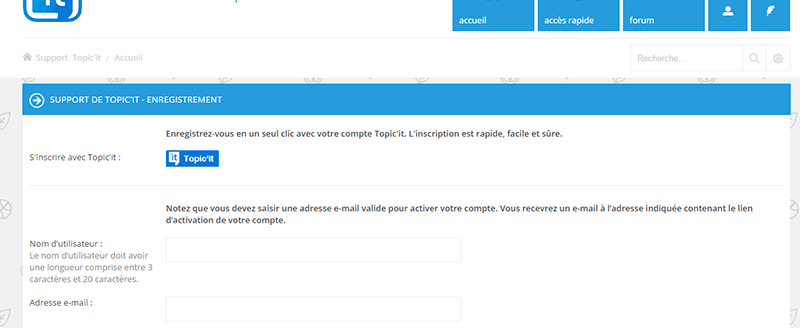 apparence du Topic'it Connect sur un forum