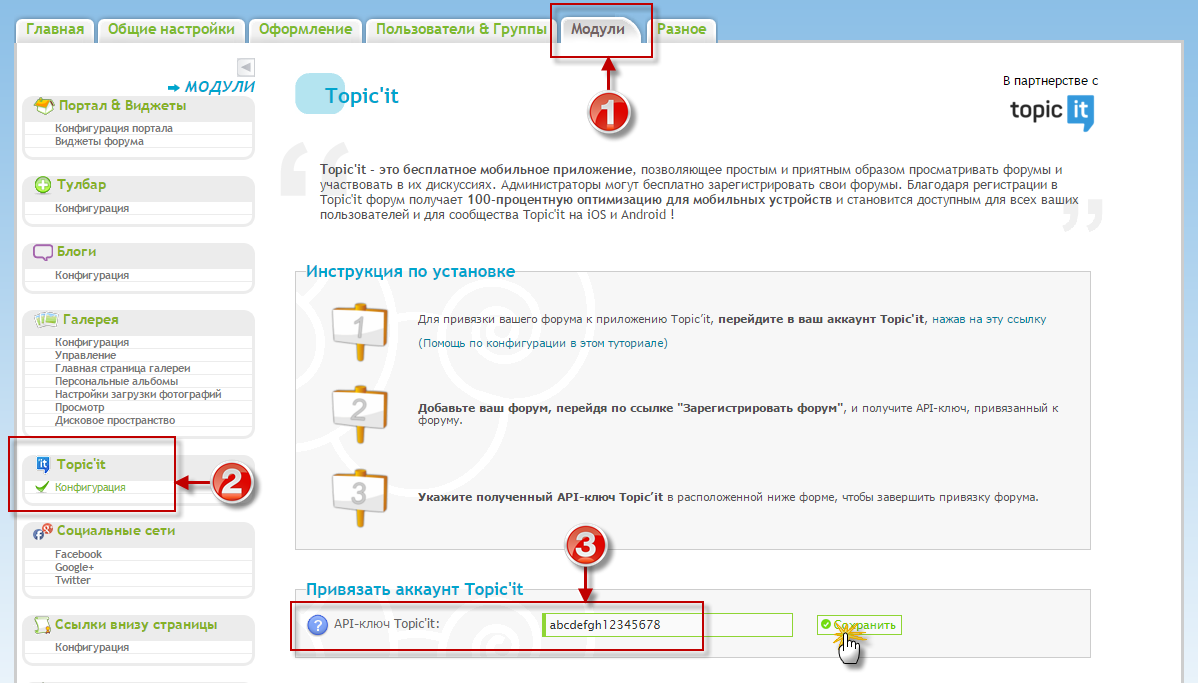 Указать API-ключ Topic'it на Forum2x2